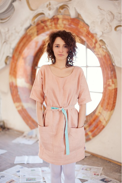 peach-linen-handmade-dress